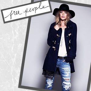 Free People Wooly Toggle Coat Blue Small
